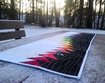 Modern quilted table runner from Marimekko fabric, rainbow table topper centerpiece, Scandinavian decor, wall hanging, textile art