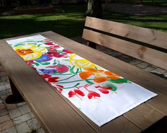 Wonderful Modern Colorful Floral Table Runner Made From Marimekko Fabric Ursula,  Narrow Tablecloth Centerpiece Topper,