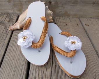 Gold White flower flip flops, beach wedding sandals, decorated flip flops, floral sandals, ribbon flip flops, women sandals, custom colors