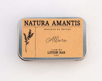 Allure Lotion Bar | Jasmine Solid Lotion, Organic Skin Care, Moisturizer, Hand Lotion, Beeswax Lotion, Hydrating Lotion Bar