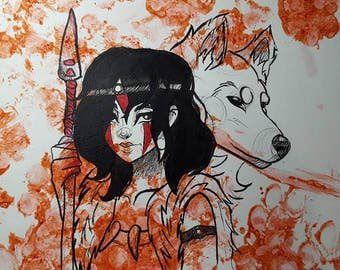 Princess Mononoke (Ahsokas art)Semi Gloss 11x17 Print