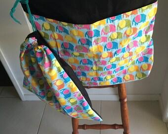 Elephants on Blue Chair Bag and Library bag combo