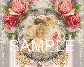 Fabric Art Quilt Block - Rose Fairies -  17-064- FREE Shipping