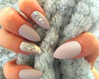 FALSE NAILS - Matte Stone Grey, Diamante - Stick On - Stick On - The Holy Nail