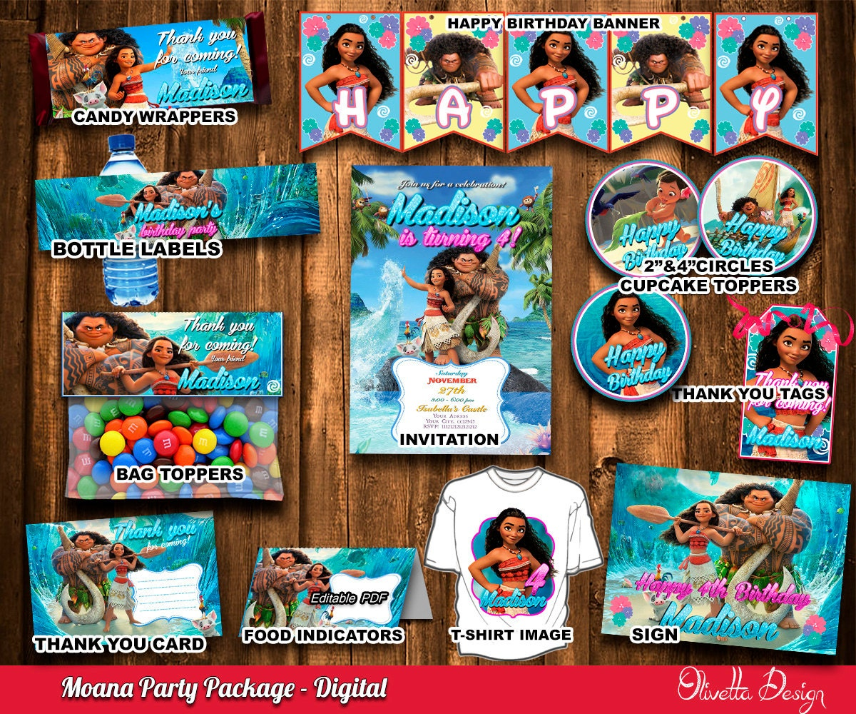 Moana Kit Imprimible para cumpleaños , Princesa Moana archivo Digital