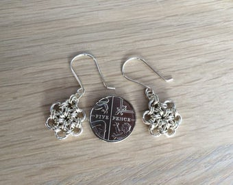 Sterling silver flower chain maille ear-rings