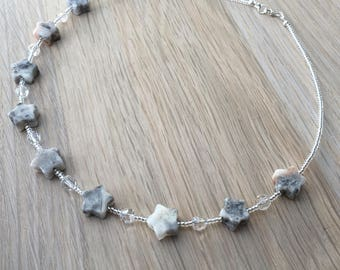Crazy Lace Agate star necklace, Swarovski & sterling silver