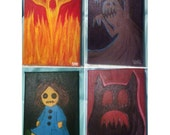 Demons Limited Edition Wall Art Painting Fire Shadow Doll Swamp Mini Canvas Collection Horror Halloween Decor