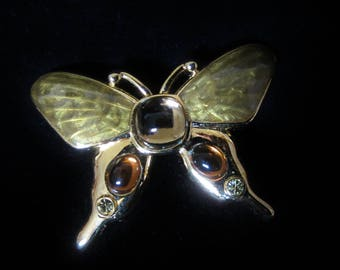 Monet Goldtone Enamel Moth/Butterfly Brooch - earthtone color scheme will compliment your Autumn attire to the max. Great Mothers' Day Gift!
