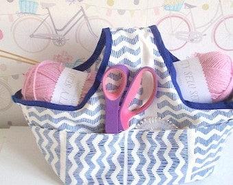 Storage Bag Craft supplies bag Blue cotton craft storage with pockets