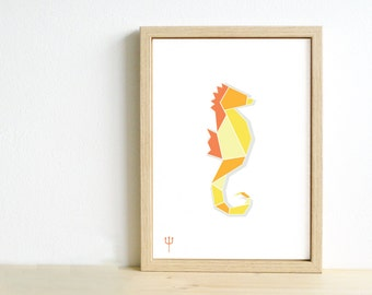Art print seahorse Nursery illustration Blue