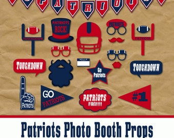 Patriots Football Photo Booth Props and Party Decorations - Printable - Over 35 Images in PDF Format - INSTaNT DOWNLoAD