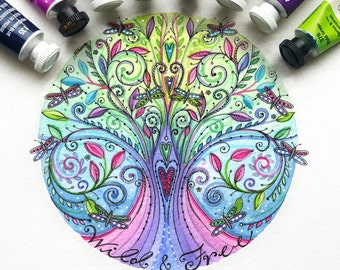 Watercolour Tree of Life, Tree with Love Hearts and Dragonflies Print - 5x5 inches, Collectable Art by Sarah Travis