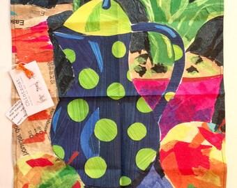 Cotton-linen tea towel, original, colourful still life design