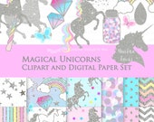 20% off Magical Unicorns / Silver Glitter Unicorns / Einhorn / Unicorn Clip Art + Digital Paper Set - Instant Download