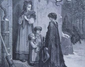 Fontaine's Fables Gustave Dore Antique Print C. 1870 (105)