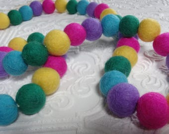 25mm Felt pom poms in Emerald Green, Mustard, Fuchsia, purple & Turquoise. Perfect for decor, garlands, photo props and crafts, 50 pieces