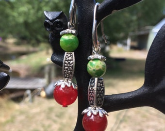 Green Sea Jasper and Red Ruby bead earrings