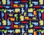Traffic Jam Michael Miller 100% Cotton Blue Truck Fabric Vehicle Pattern cx7269 FQ 1/2 Full Metre