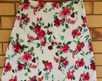 Size 8 Fancy Weave Floral Print A-Line Skirt