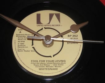 "Whitesnake fool for your loving 7"" vinyl record clock"