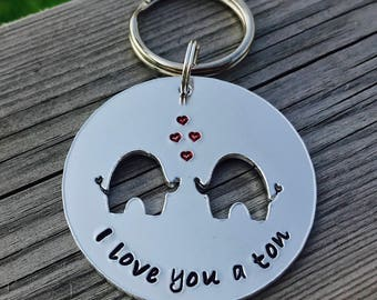 Hand stamped personalised elephant keyring with hearts, gift for her, gift for him, valentines, christmas