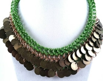 Bronze and Green Chainmaille Necklace
