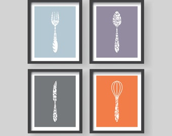 Winter Sale Kitchen Utensils decor 4 set - Kitchen Decor - Kitchen wall art - Kitchen print - Fork Knife Spoon Whisk - Kitchen poster