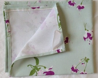 Purple fuchsia tea towel -  purple fuchsia flowers - purple fuchsia kitchen towel - on green background - floral tea towel -  in 100% cotton