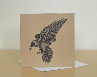 Raven greetings card. Recycled gift card with Raven art. Unique recycled birthday cards. Blank inside. Gothic greetings cards.