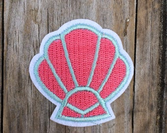 Pink Shell Patch, Vintage Embroidered Patch, Mermaid Patch, Beach Patch, Applique Iron On Patch, Patches, Sea Patches, Ocean Patches