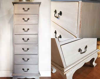 SOLD- Grey & white washed tall dresser lingerie chest- rustic shabby chic farmhouse San Francisco Bay Area