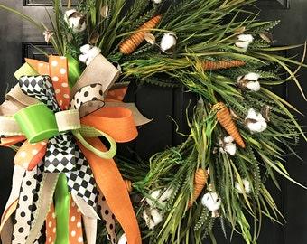 Carrot and Cotton Neutral Wreath, Door Decoration,  Easter Wreath, Monogram Wreath