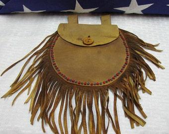 Vintage Indian Medicine Bag - Mountain Man Leather Bag - Frontier Bag - Beaded Bag