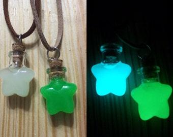 Glow in the dark heart necklace, Glow heart bottle necklace, Glow in the dark jewelry, glowing necklace, Glowing Pendant