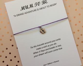 Mum To Be Wish Bracelet - Mum To Be String Bracelet - Mum To Be Charm Bracelet - Baby Shower Gift - Baby Footprint Charm
