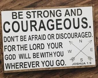 Joshua 1:9 | 24x36 scripture framed wood sign | custom wood sign | boy nursery wood sign | farmhouse sign | fixer upper decor