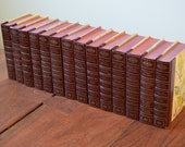 Reserved for Stacy: Set of 14 Brown Reader's Digest Condensed Books circa 1970s - light brown covers and gold lettering