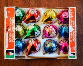 Vintage Christmas Ornaments, Set of 12 in box - Plastic with glittered teardrop and ball styles circa 1970s