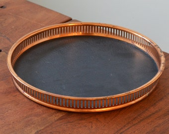 """Vintage Copper Round Serving Tray - 13"""" Reticulated Sides, Leather tray and veneer back, beautiful patina"""