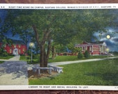 Radford College Vintage Postcard,  Library and Social Hall, Retro Campus Scene in Radford, Virginia