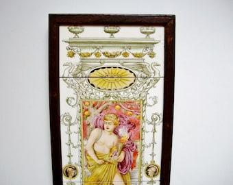 Framed Classical Tile Panel, Ceres Goddess, Autumn, Antique