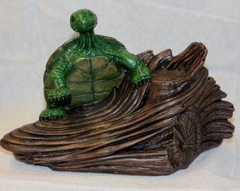 Water Turtle on Driftwood, Hand Painted Ceramic, Highly Detailed
