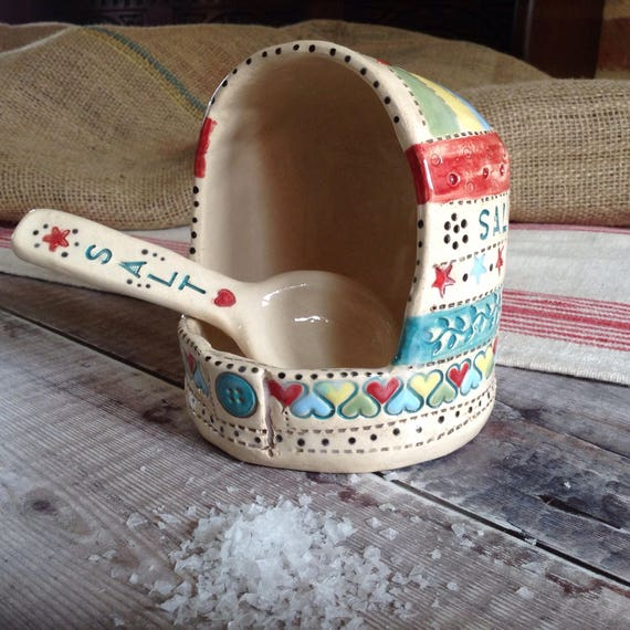 Handmade ceramic salt cellar AND ceramic spoon set, patchwork feel, vintagey, richly patterned, stitchy detail, ceramic spoon