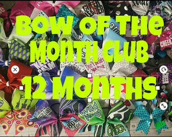 Cheer Hair Bow of the month club 12 months