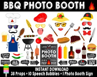 PRINTABLE BBQ Photo Booth Props-BBQ Party Props-Bbq Photo Props-Grill Party Props-Grill Photo Booth Props-bbq shower props-Instant Download