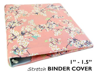 "3 Ring Binder Cover CHERRY BLOSSOMS 1""-1.5"" Floral Planner Cover, Wedding Binder, Recipe Binder, Three Ring Binder, Scrapbook Album, Stretch"