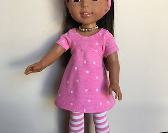 "Pink & white dots Dress with striped leggings  made to fit 14.5"" doll like Wellie wisher dolls/heart for heart dolls"