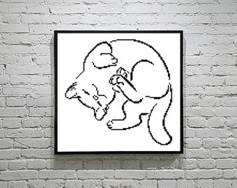 Cat Silhouette, Animal Silhouette Pattern, Cross Stitch Pattern, Silhouettes, PDF - PATTERN ONLY