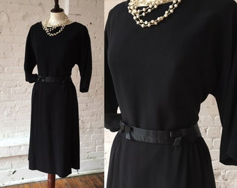 Hahne & Company Vintage 1950s Black Dress